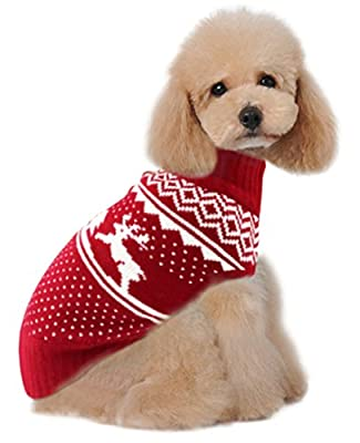 "Holiday Christmas Reindeer Vintage Classic Dog Sweater (10"", 12"", 14"", 16"", 20"") Festive Dress by V28®"