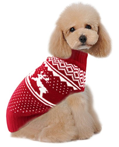 Holiday Christmas Reindeer Vintage Classic Dog Sweater (10″, 12″, 14″, 16″, 20″) Festive Dress