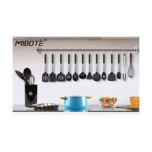 Mibote 15 Pcs Silicone Kitchen Utensils Set, Cooking Utensils Set with Heat Resistant BPA-Free Silicone and Stainless… 7