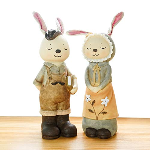 - DreamsEden Resin Bunny Couple Figurines Coin Piggy Bank - Cute Critters Family Rabbit Statues Home Decoration, Set of 2 (M)