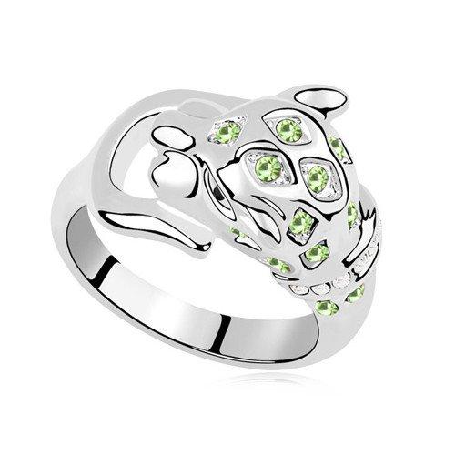 plateado elementos de Swarovski Crystal Diamond Accent Tiger Eternidad Compromiso Anillos de Boda para Mujer Hombre