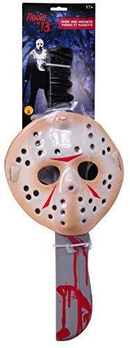 Rubie's Men's Friday The 13Th Jason Voorhees Mask And Machete Set,  Standard, White -