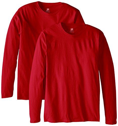 Hanes Men's Long Sleeve Nano Cotton Premium T-Shirt (Pack of 2), Deep Red, 3X-Large