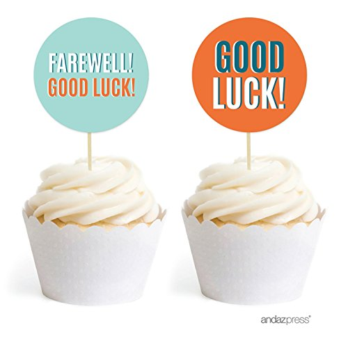 Andaz Press Farewell Retirement Party Decorations, Farewell! Good Luck!, Cupcake Toppers DIY Kit, 20-Pack -