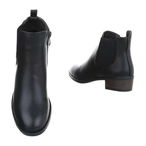 Zapatos para mujer Botas Tacón ancho Botines Chelsea Ital-Design Negro