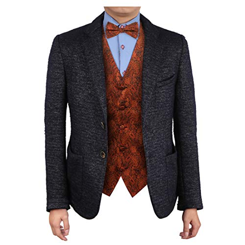 Epoint EGE2B01B-M Dark Orange Vest Paisley Microfiber Tuxedo Vest Pre-tied Bow Tie Set Working Day Presents ()