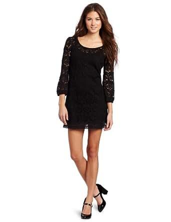 Roxy Juniors Crochet Dreams Long Sleeve Dress, Black, X-Large