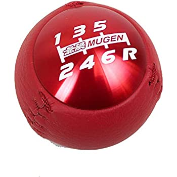 Honda Shift Knob Mugen 6 Speed Red Stitches Leather Acura RSX Civic Si S2000
