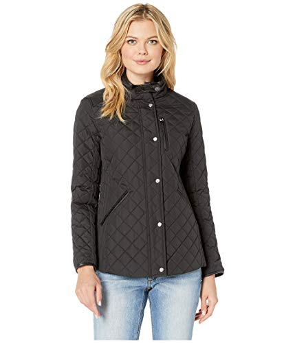 Lauren Ralph Lauren Women's Quilted Barn Jacket with Faux Leather Trim Black Medium (Faux Leather Trim Trench Coat Ralph Lauren)