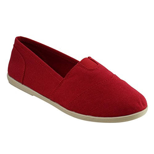 Soda Shoes Womens Obji Rnd Toe Casual Flat With Padded Insole Red
