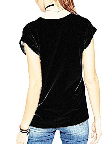 61266485e56 Amazon.com  Haola Women s Summer Fashion Words Printed Tops Funny t Shirt  Street Juniors Short Sleeve O Neck Tees Black XXL  Clothing