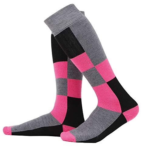 Andorra Air Cushioned Merino Wool Full Socks Terry Womens Ski Socks,Pink Diamond