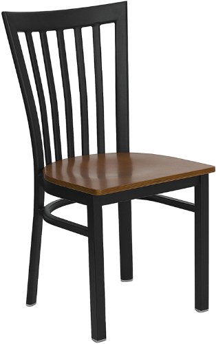 Restaurant Schoolhouse Chairs (StarSun Depot Hercules Series Black School House Back Metal Restaurant Chair - Cherry Wood Seat 17.25