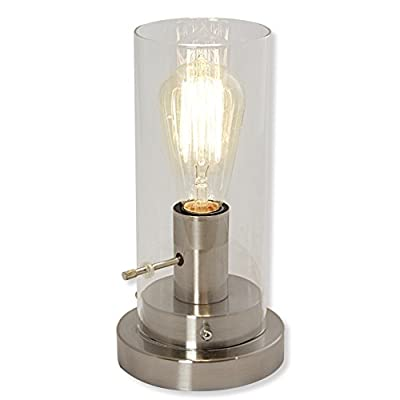 Cylinder Glass and Steel Table Lamp with Vintage Edison Bulb