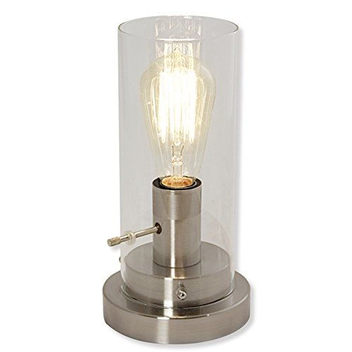 Light Accents Table Lamp Antique Style with Vintage Edison Bulb (Brushed Nickel) (Chrome Glass Desk Lamp)