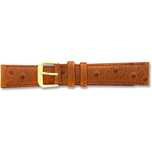 de Beer Brown Ostrich Grain Leather Watch Band 18mm Gold Color