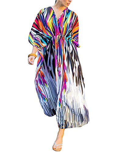Bsubseach Women Loose Beach Dress Batwing Sleeve Long Kaftan Beachwear Swimsuit Cover Up ()