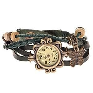 Elite Charm Butterfly Pendant Quartz Fashion Weave Wrap Leather Bracelet Womens Wrist Watches (Green)