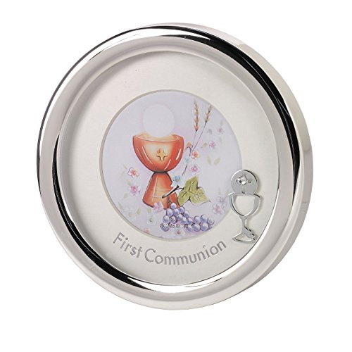 First Communion Silver Toned Round Picture Frame, 5 1/2 Inch by First Communion Picture Frame