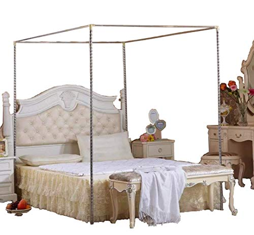 KingKara Canopy Bed Mosquito Netting Stainless Steel Frame/Post FULL/QUEEN Size (Silver Canopy Bed)