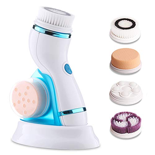 2019 Upgraded Silicon Facial Cleansing Brush,1200 Brush Heads Deep Cleaning Silicone Face Brush,Fixing the Cleanser by Special Pad Waterproof Rechargeable-Exfoliating, Removal Blackhead by Vasrou