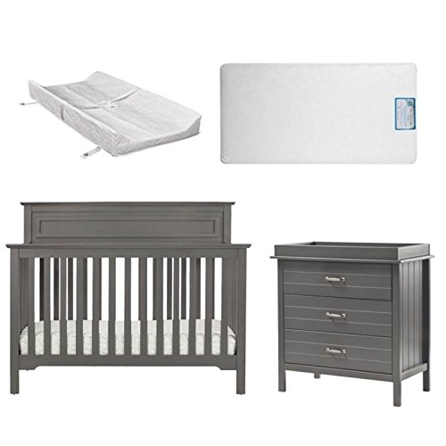 4 Piece Nursery Furniture Set in Gray by Home Square