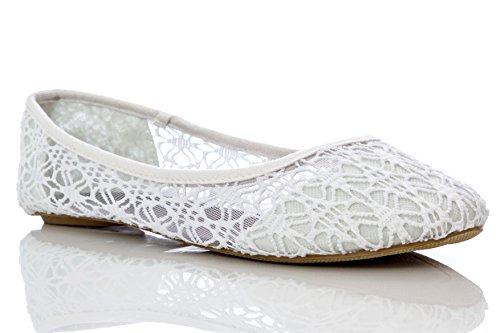 Charles Albert Womens Breathable Crochet Lace Ballet Flat