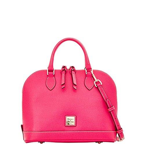 [Dooney & Bourke Saffiano Zip Zip Satchel - Hot Pink] (Dooney & Bourke Fully Lined Wallet)