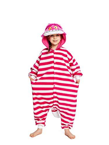 NEWCOSPLAY Kids Plush One Piece Cosplay Onesies Costume (115, Cheshire ()
