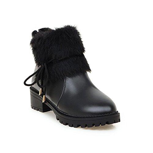 Ladola Womens Solid VelvetLining Waterproof Urethane Boots Black