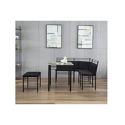 (Svitlife Gareth Black Upholstered Metal Breakfast Nook Set Nook Set Breakfast Kitchen Cushion Corner Dining Bench)