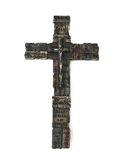 Polly House Faith 12in Love, Hope, Trust The Lord Wall Cross, Great for Home Decor or Gift (By Faith Crosses)