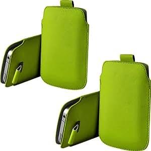 ONX3 Twin Pack Nokia 515 Dual SIM PU de cuero protector Tab Pouch Funda Piel extracción (verde)