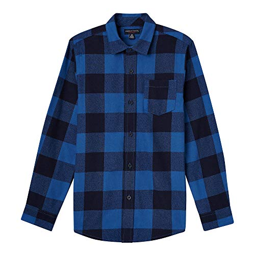 (French Toast Boys' Toddler Long Sleeve Flannel Shirt, Blue Planet, 2T)