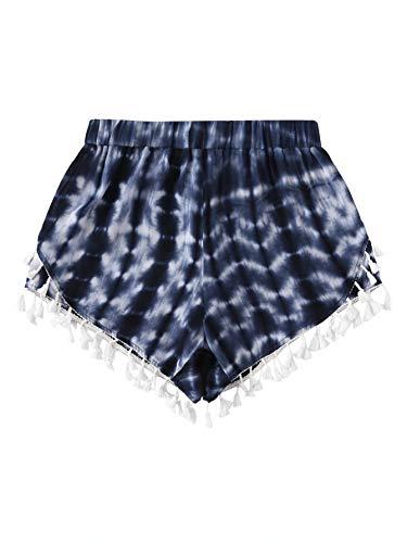 SweatyRocks Women's Tie Dye Print Yoga Workout Shorts Casual Lounge Shorts Navy Medium