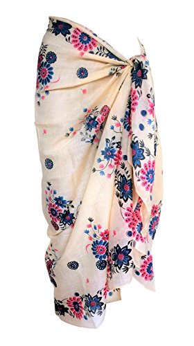 TC Soft Cotton Swim Beach Sarong Wrap Skirt Towel Cover-up 72' X 39' (Yellow Floral)