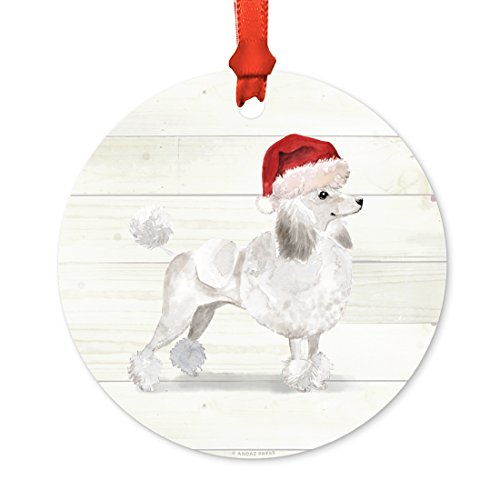 Andaz Press Animal Pet Dog Metal Christmas Ornament, White Poodle with Santa Hat, 1-Pack, Includes Ribbon and Gift Bag