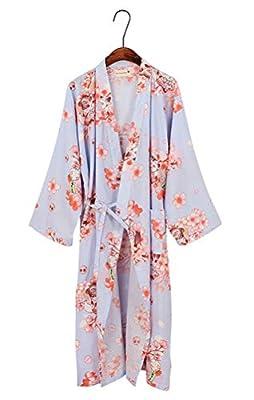 ACE SHOCK Japanese Yukata Women, Floral Cotton Bathrobe Dressing Gown Pajamas Khan Steam Clothing