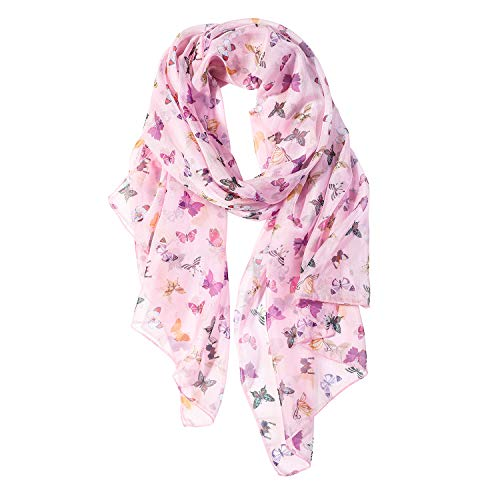 Colorful Butterfly Scarfs for Women Lightweight Colorful Butterfly Print Shawl Head Wraps (Colorful Butterfly)