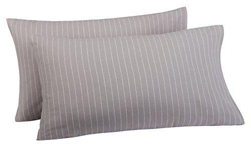 Pinzon 160 Gram Pinstripe Flannel Pillowcases - King, Grey Pinstripe - Cotton Flannel Pillowcase