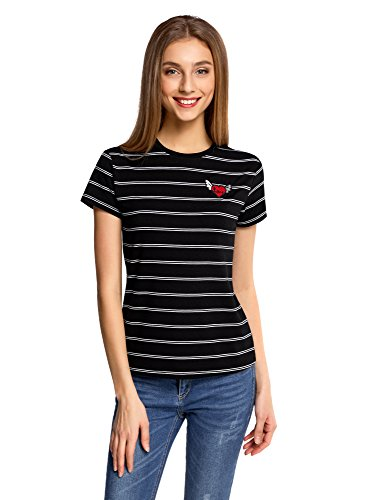oodji Ultra Mujer Camiseta a Rayas con Bordado Negro (2910S)