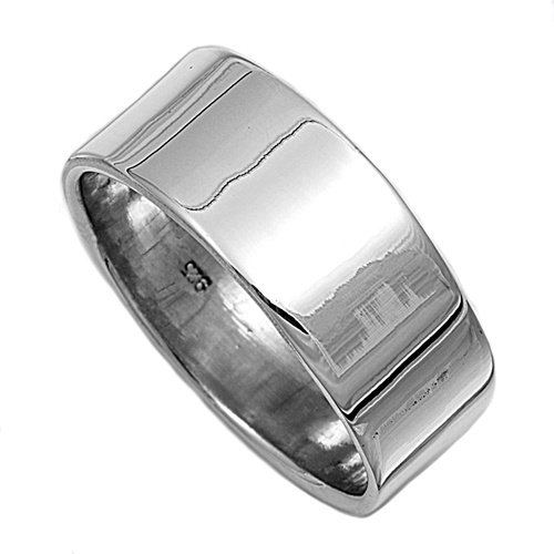 8MM ITALIAN Sterling Silver Flat Top CIGAR HIGH Polished Comfort Wedding Band Finger-Thumb-Toe Ring Sz 6-12 (Sterling Silver Cigar Band Ring)