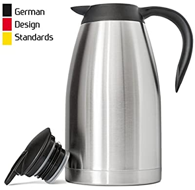 New 68 Oz (2 Liter) German-Designed Thermal Coffee Carafe | Stainless Steel Insulated Double Wall | BPA-Free Vacuum Thermos | Effectively Keeps Beverages Hot (Warm up to 12 Hrs) or Cold (up to 24 Hrs)