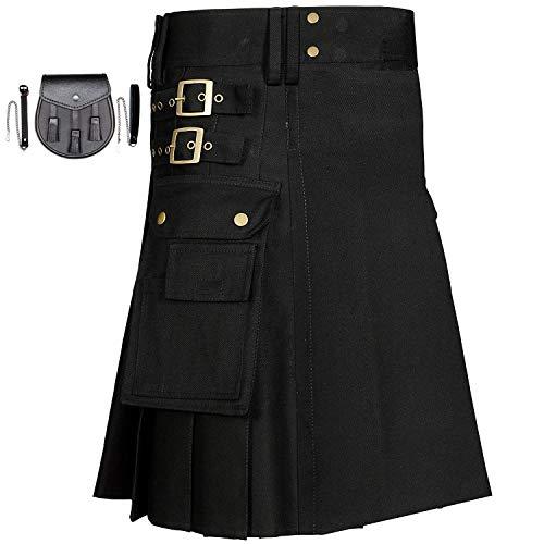 MajesticUSA Men's black utility kilt Scottish Traditional Wedding Kilt Stylish Sport Dress Fashion Snap-on highlander skirt Cargo Pocket With Free Leather Sporran Chain with Strap (W 40, ()