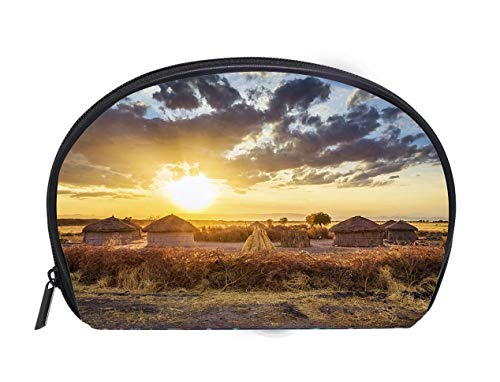 - Half-moon Cosmetic Bag Maasai village by Sunset Tarangire National Park Ladies Travel Convenience Small Wash Bag Storage Bag