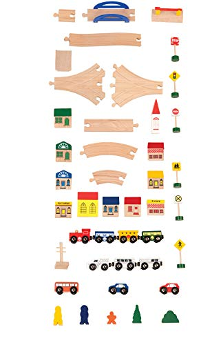 Battat - Deluxe Wooden Train - Classic Wooden Toy Train Set with Magnetic Trains, Tracks, Vehicles, Buildings & Accessories for Kids Aged 3 & Up (102Pc)