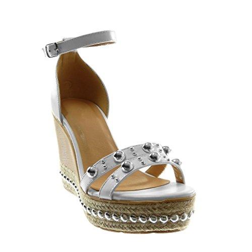 Plateforme Cheville Mode Clouté Femme Plateforme Mule 5 Talon Sandale CM Lanière Blanc 10 Perle Chaussure Angkorly Bois Compensé OgqXwfg