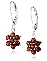 Rhodium Plated Sterling Silver Flower Leverback Dangle Earrings