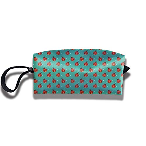 Cosmetic Bags With Zipper Makeup Bag Cute Ladybugs With Little Star Middle Wallet Hangbag Wristlet Holder