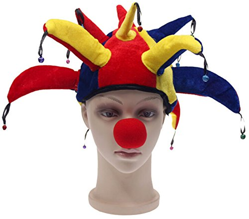 Clown Hat and Nose Costume Set for AdultΧldren Halloween Fancy Party Dress (Women's Jester Halloween Makeup)